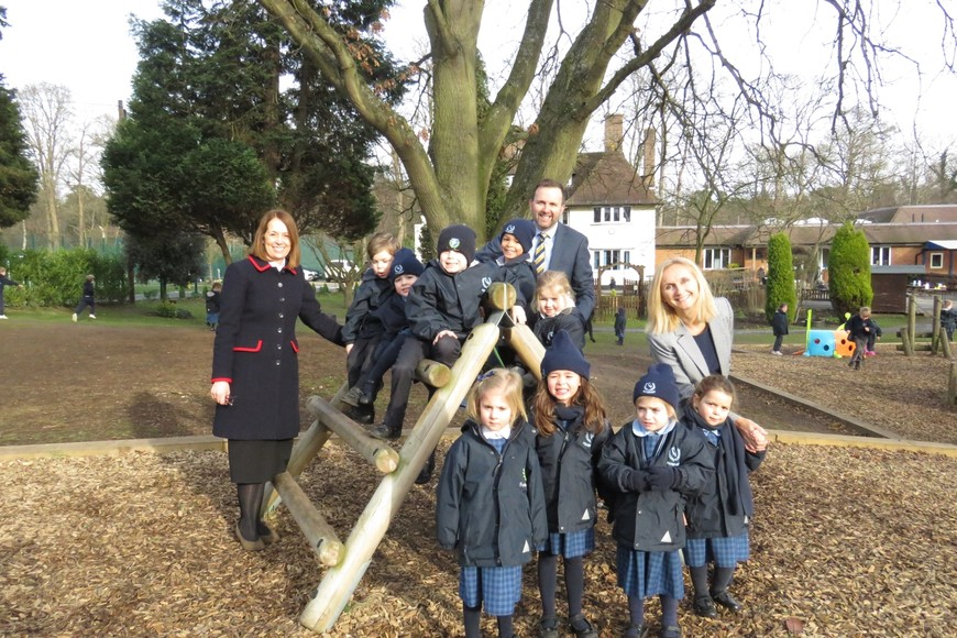 Headmistress Shelley Lance (L), Deputy Head Ewan Carradine and Head of Pre Prep Amanda Burton Smith (R) with pupils from Feltonfleet Pre Prep