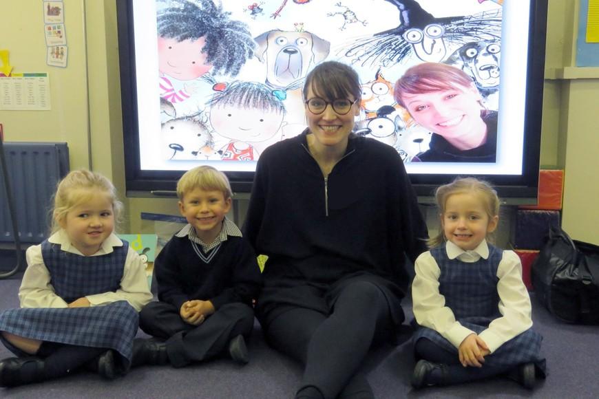 Chloe Inkpen visits pupils in the Pre-Prep