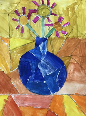 Lincoln L Year 2 still life collage and water colours