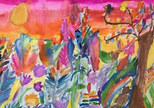 Olivia T Year 5 Rousseau inspired landscape water colours