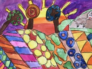 Zoe P Year 4 landscape with patterns water colours on paper